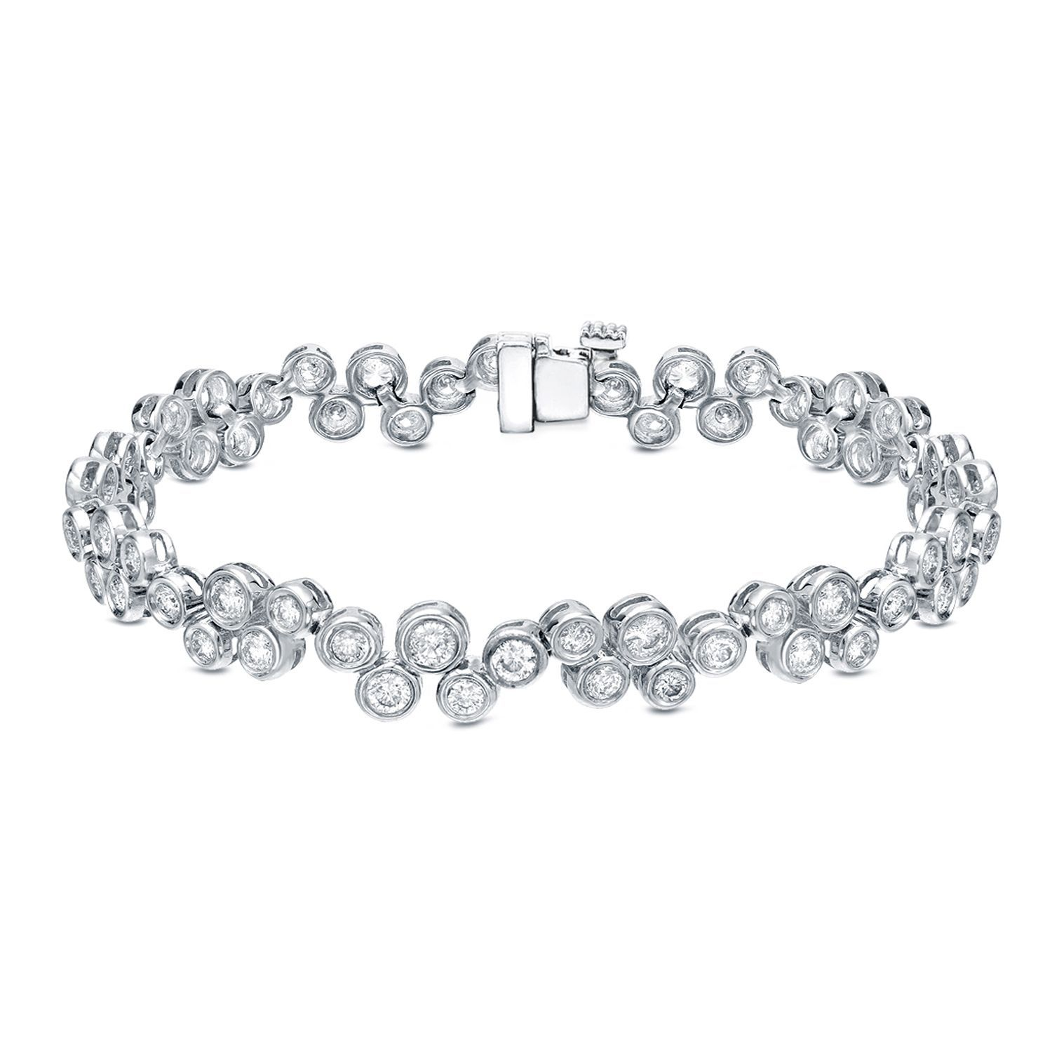 Auriya k white gold ct tdw bezel set bubble diamond bracelet hi