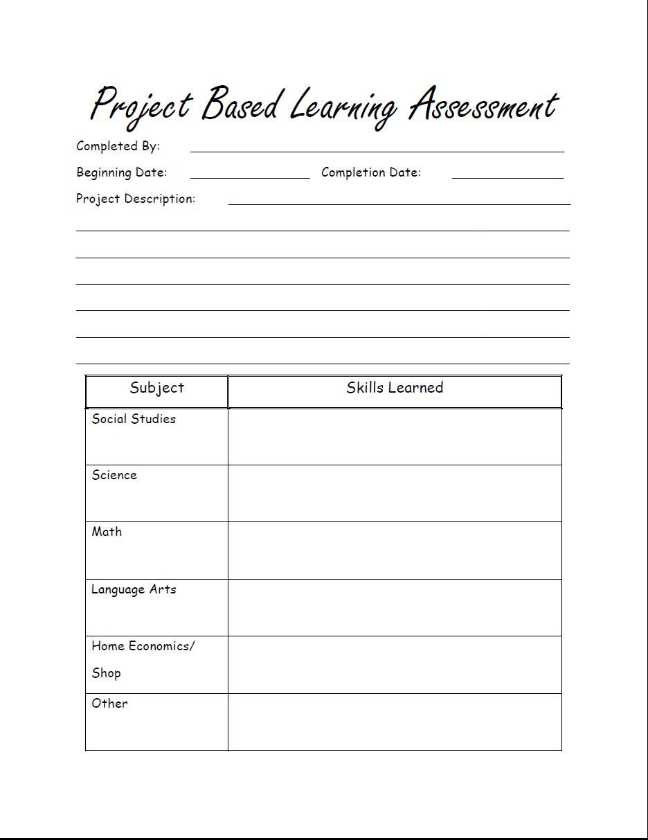 Free printable Project Based Learning Assessment for homeschool ...
