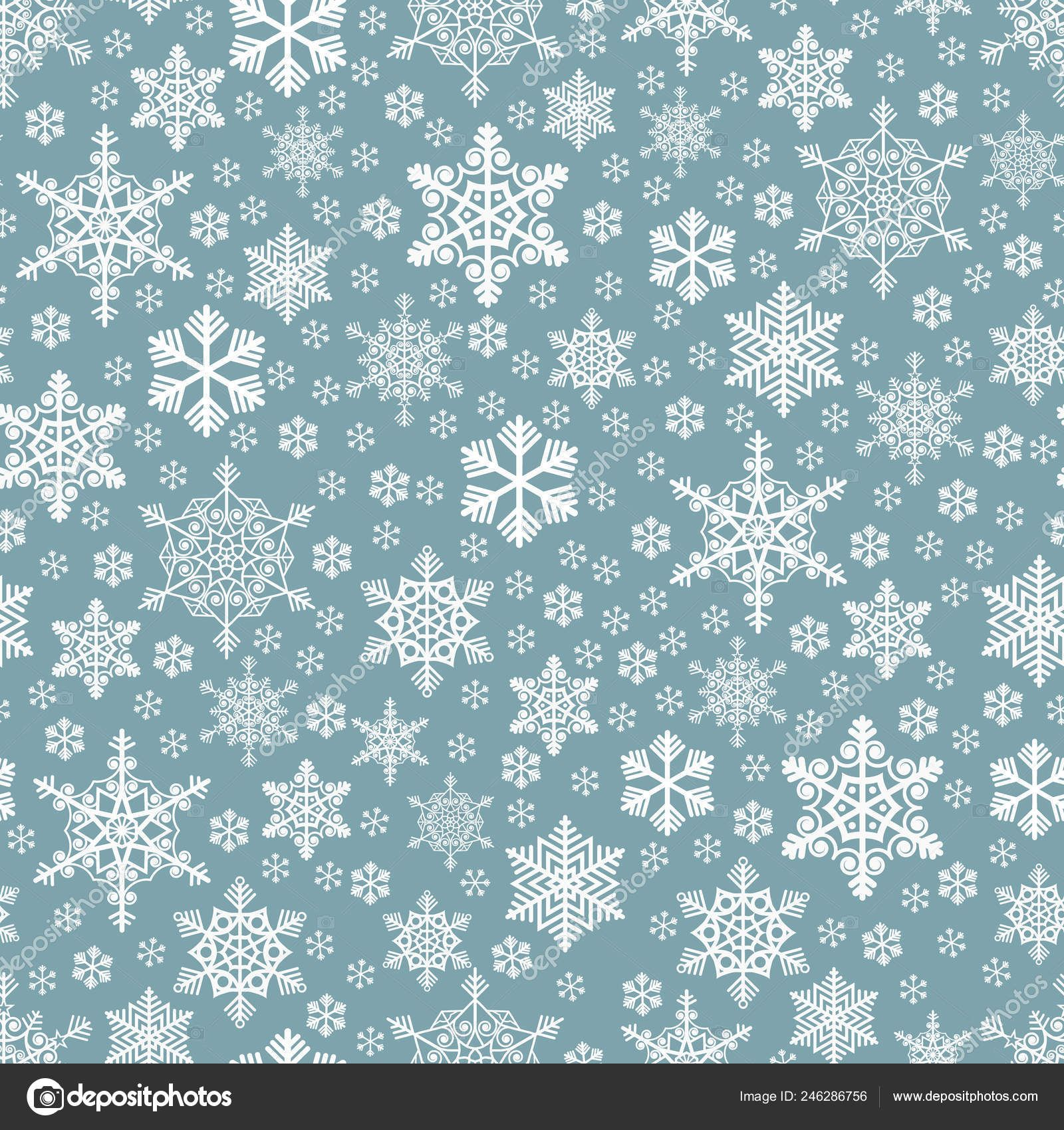 Download seamless densely packed white snowflakes