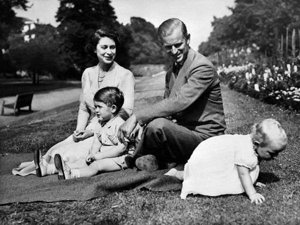 The Royal couple, Queen Elizabeth II and her husband Philip, Duke of Edinburgh, with their two children, Charles, Prince of Wales, left, and Princess Anne in 1951. (AFP/Getty)
