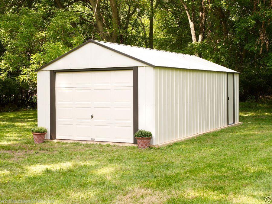 Arrow Sheds Vinyl Garage Murryhill 14x21 Heavy Duty Storage Building Kit Vt1421 Arrow Storageshedvinyl Metal Storage Sheds Building A Shed Garage Door Styles