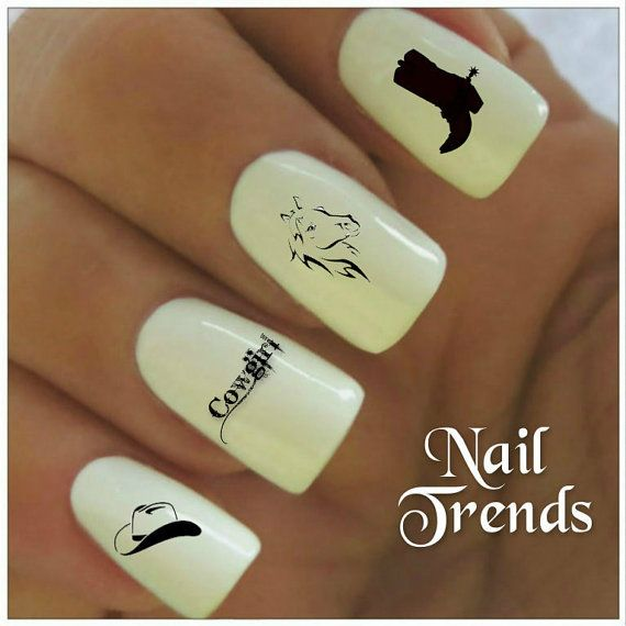 Cowgirl Nail Decal. 20 Vinyl Stickers Nail Art by NailTrends, $2.65 ...