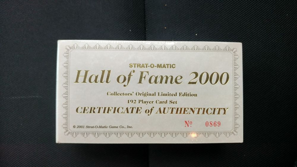 Strat O Matic Baseball Cards Hall Of Fame 2000 Limited