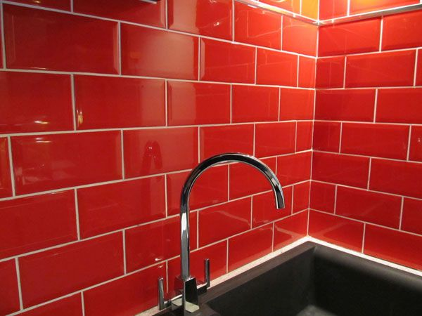 red kitchen wall tiles Google Search Wonderland Err Flat