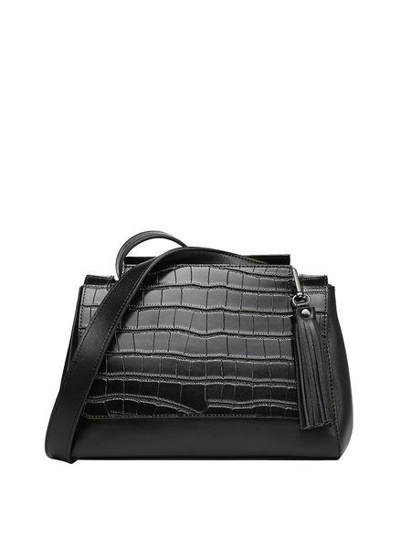 Crocodile Embossed Cowhide leather Fold-over Flat Top Casual Medium Satchel 62d18849ef557