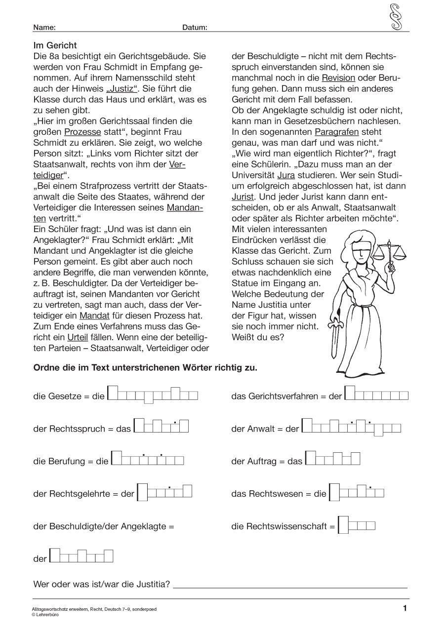 15 Arbeitsblätter 7 Klasse Deutsch Special Education