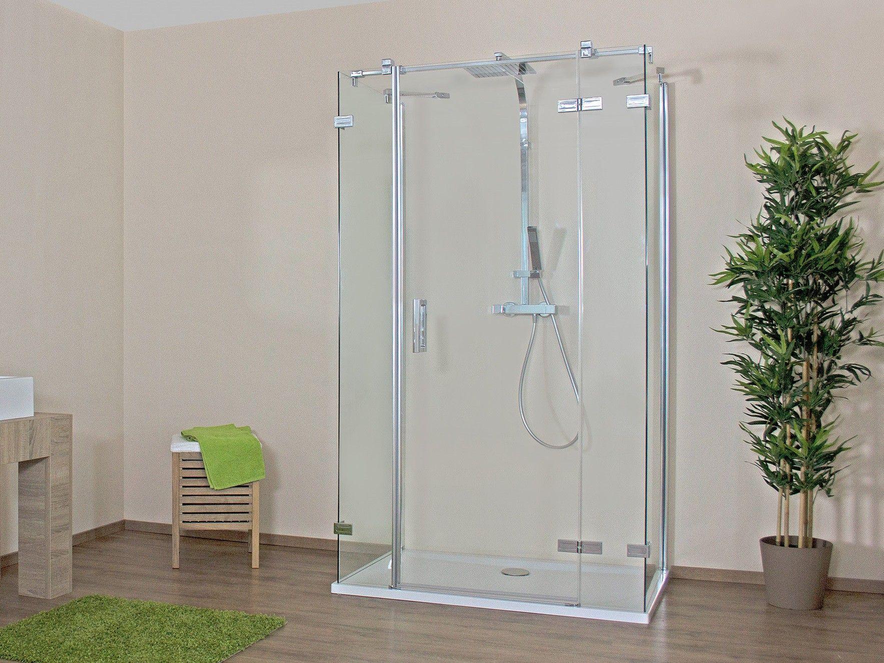 Duschkabine U-Form 100 x 100 x 220 cm Drehtür Echtglas ESG klar ... | {Bodengleiche dusche ohne tür 64}