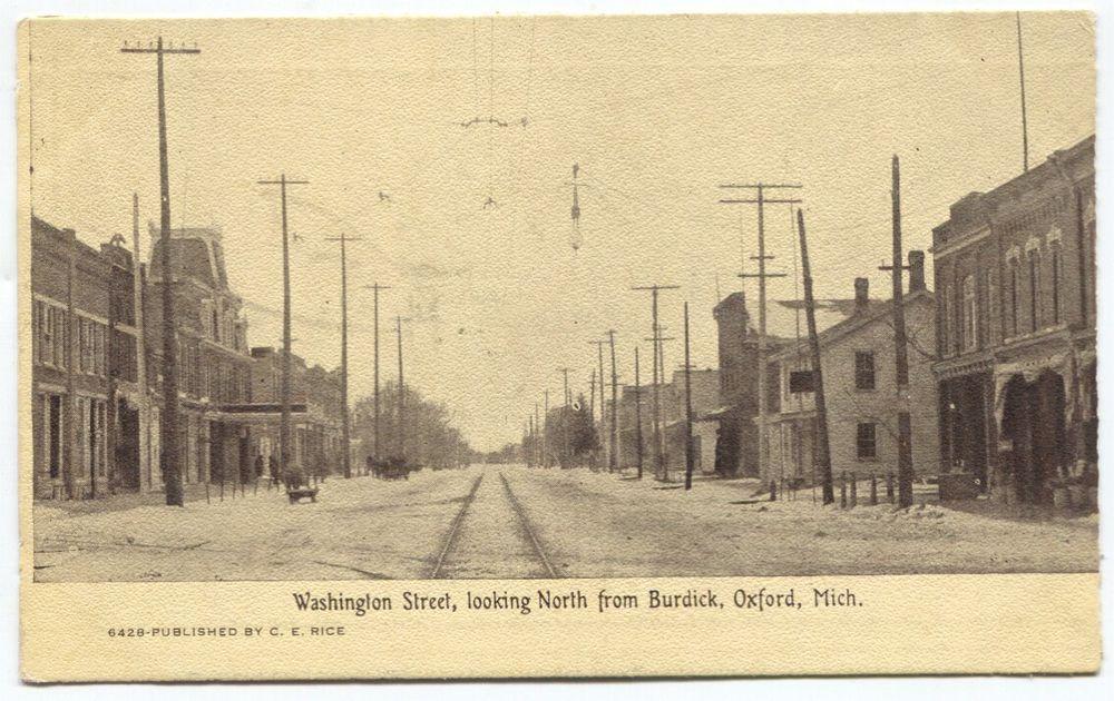 1910 Era Washington Street Oxford Michigan Postcard Washington