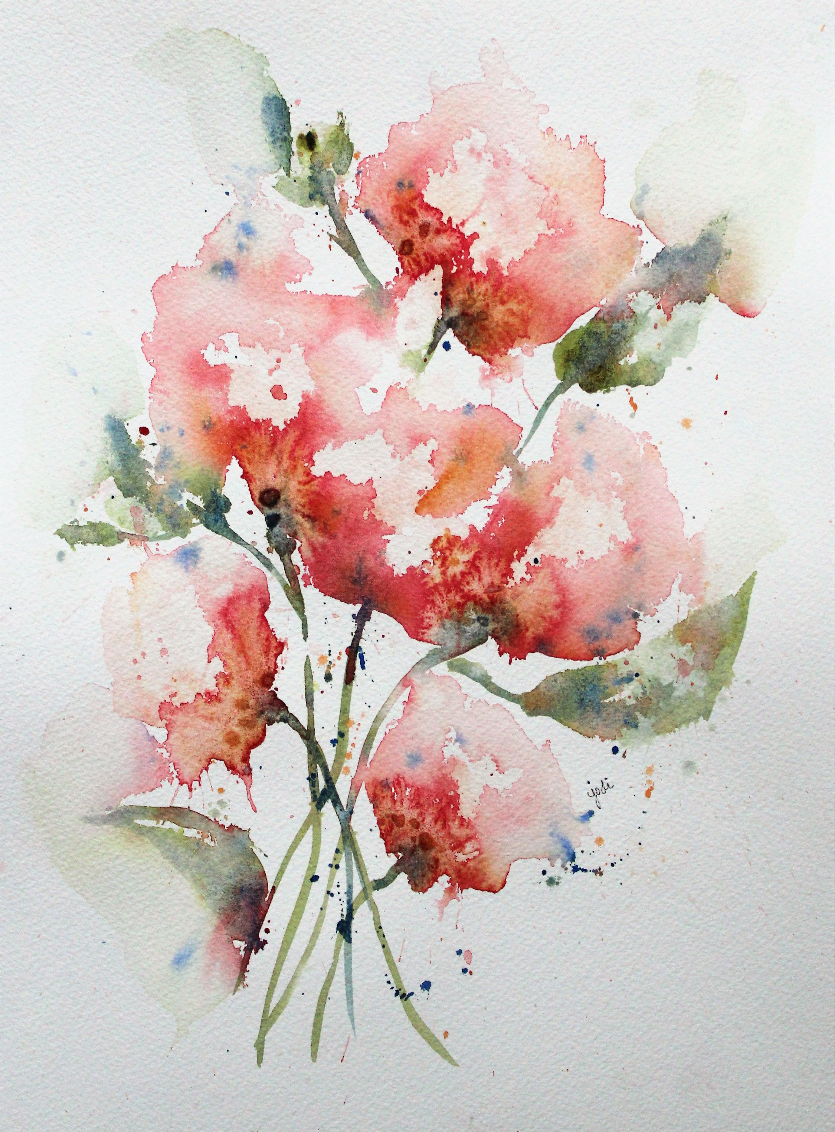 Abstract Floral Flower Watercolor Painting Jodi Mckinney