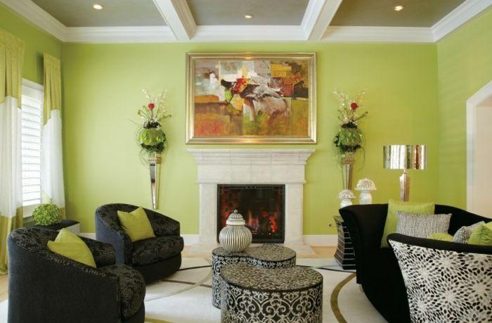 Wohnidee Wohnzimmer Elegante Wohnzimmermöbel Grüne Wände Kamin