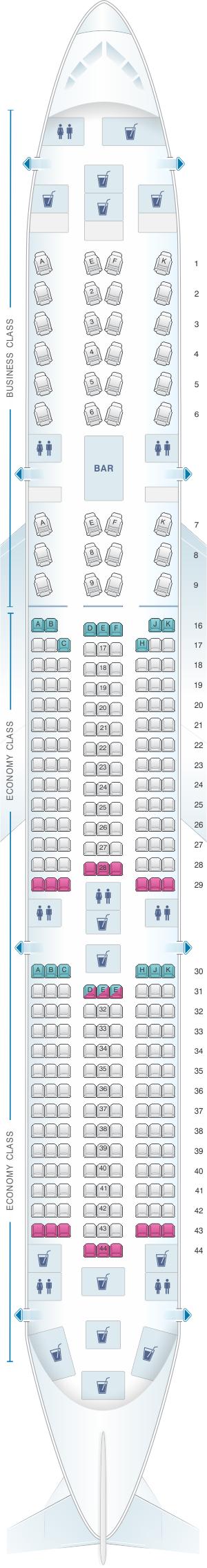 Seat Map Qatar Airways Airbus A350 Air transat, China