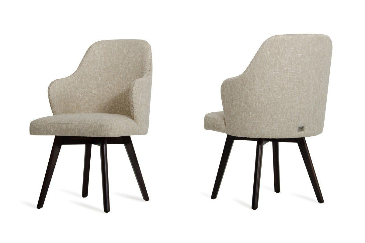 Caligari Modern Oak Off White Fabric Dining Chair Set Of 2