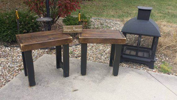 Rustic End Tables Set Distressed Reclaimed Wood Speaker Accent End