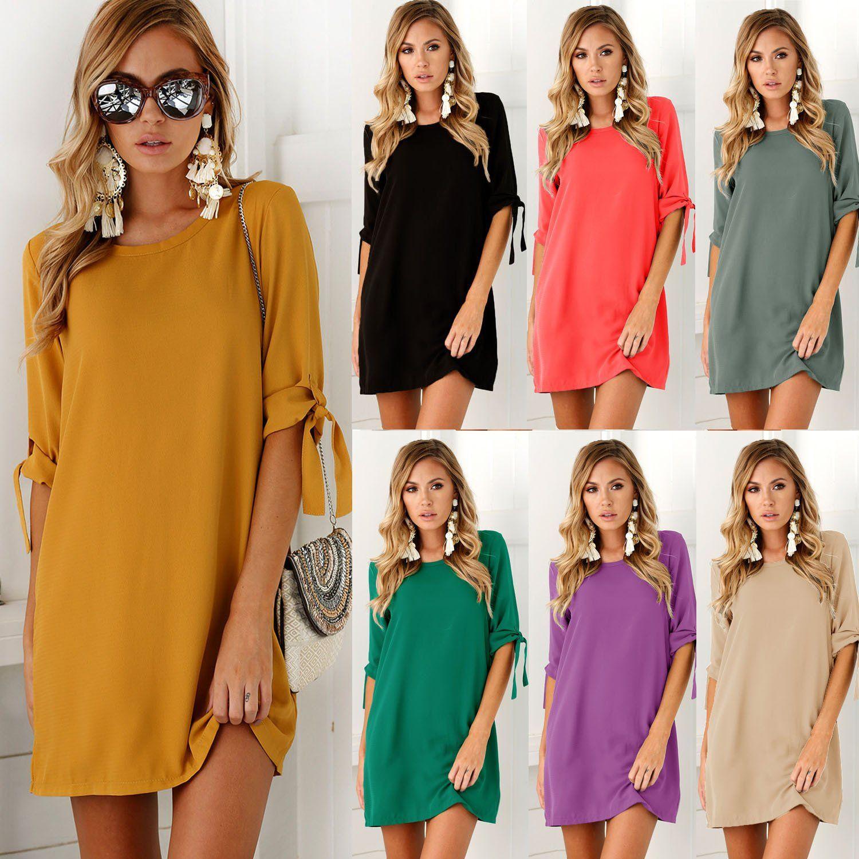 Round Neck Mid Sleeve Dress