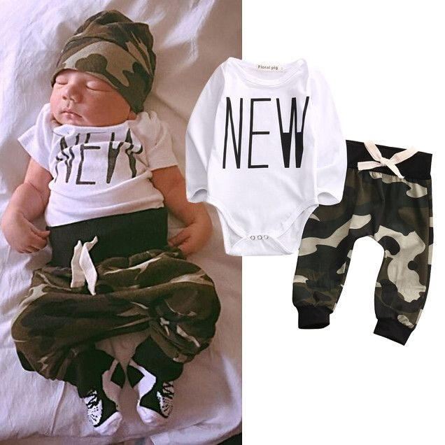 49bab1a3f Cool Cute Camouflage Newborn Baby Boys Kids Bodysuit Tops+Long Pants Outfit  Clothes Set - $17.97 - Buy it Now!