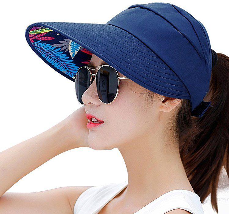 ba05bc0ccad HindaWi Sun Hats For Women Wide Brim UV Protection Summer Beach Visor Cap