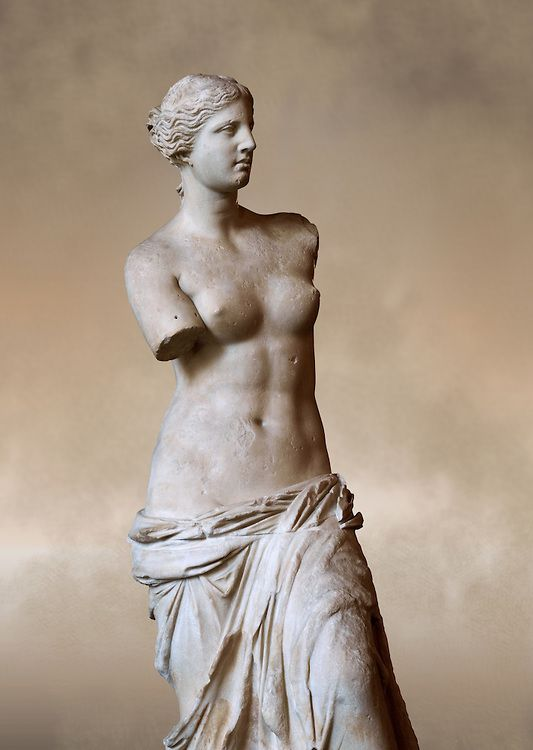 Venus de Milo ( Aphrodite of Milos ) A 203cm (6ft 8in) marble statue from the Greek Island of Milos sculpted in 130 and 100 BC thought to be the work of Alexandros of Antioch;. Louvre Museum, Paris. The Aphrodite of Milos was discovered on 8 April   Funkystock Picture & Image Library Resource
