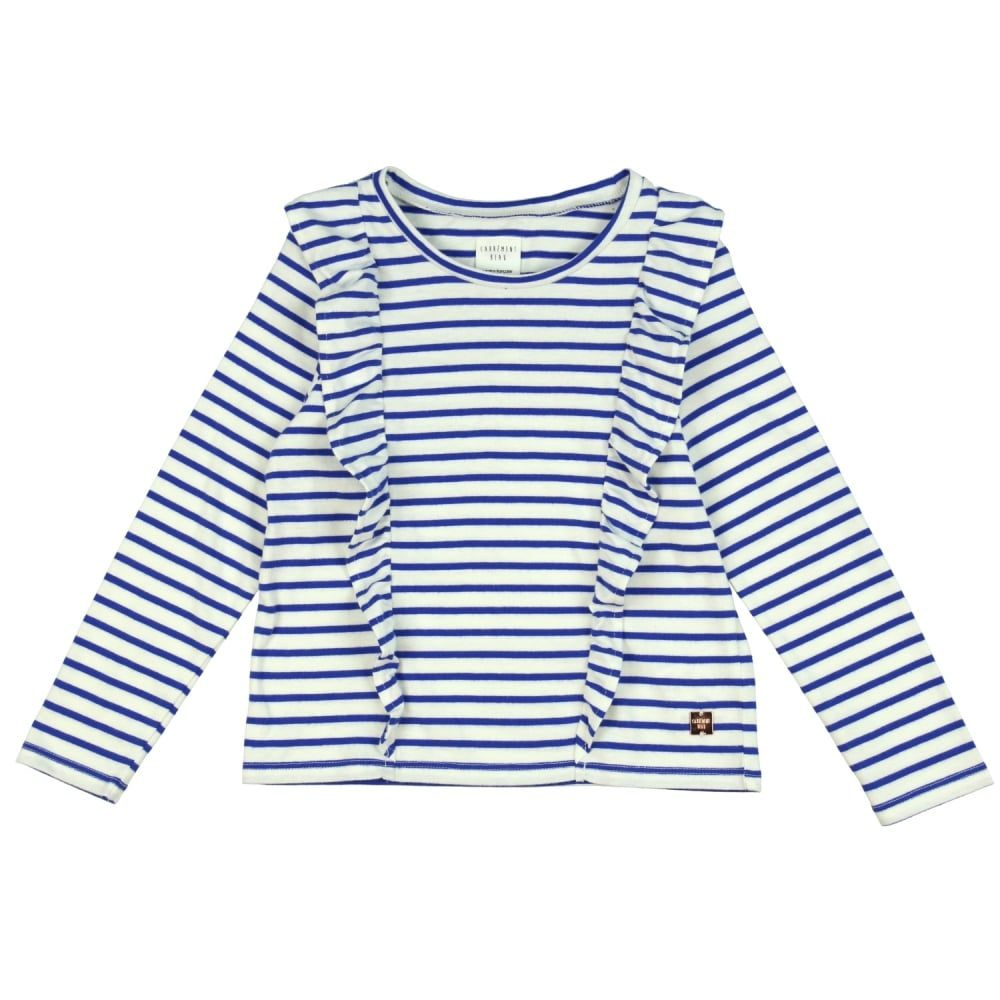 girls white top with blue stripe and frill detailing now