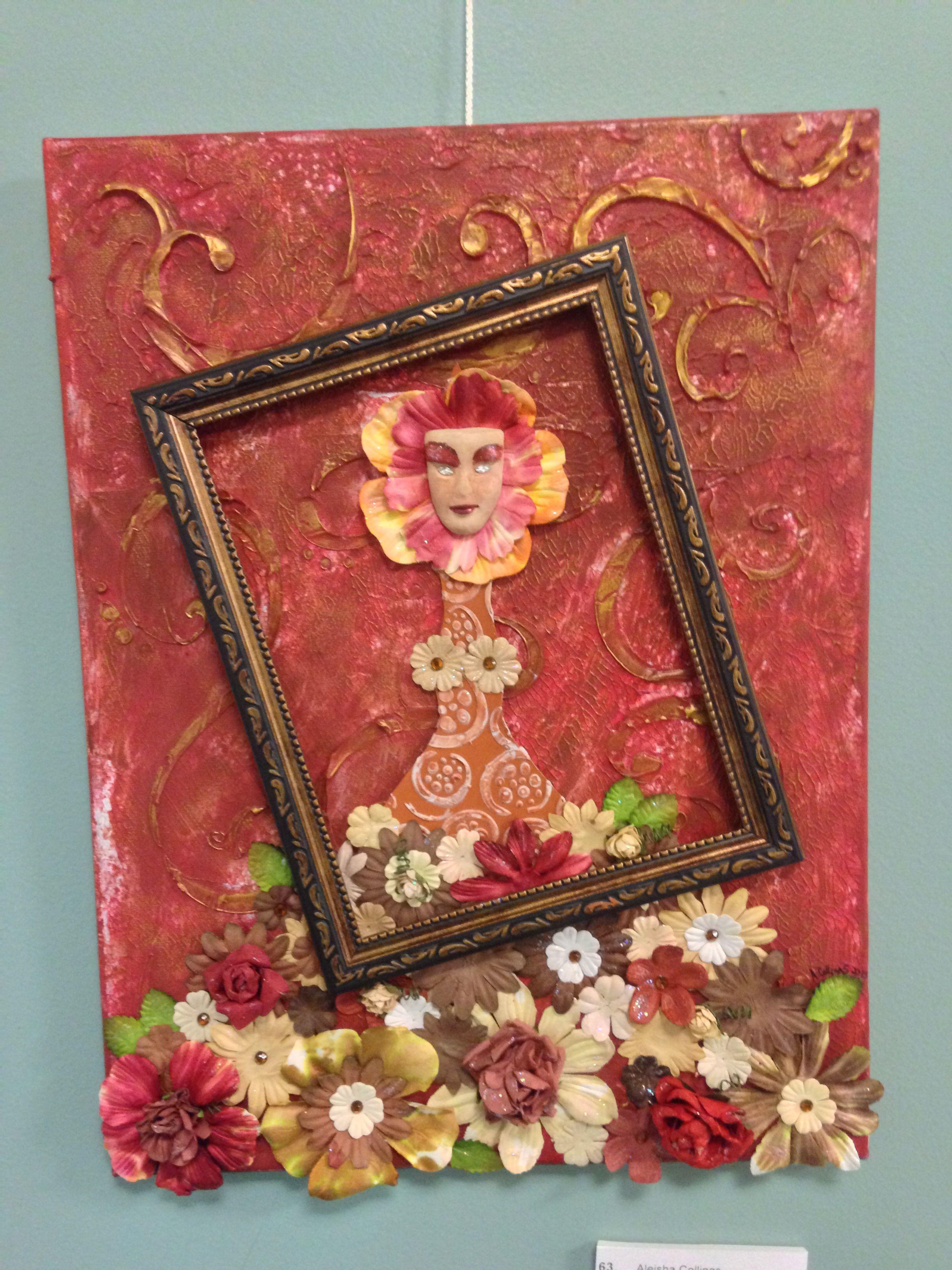 Mixed media canvas doll