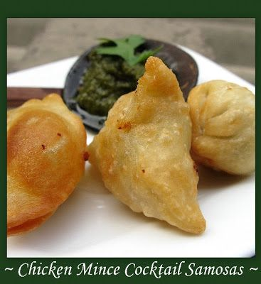 Indian Snack Chicken Mince Cocktail Samosas Indian Recipes