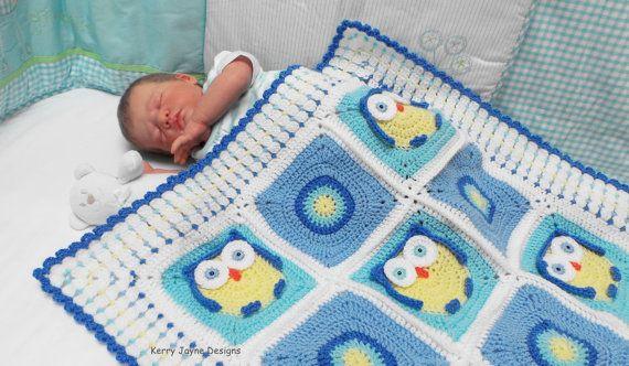 Crochet Baby Blanket Pattern Kerrys Owl Blanket Mantas Para Bebs