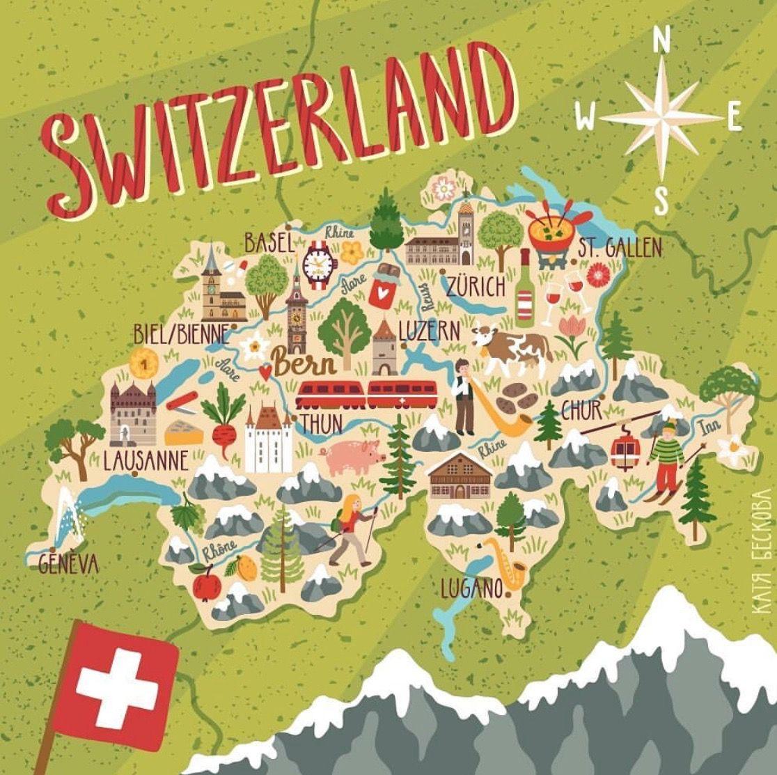 Schweiz Map Of Switzerland Travel Infographic Europe Map