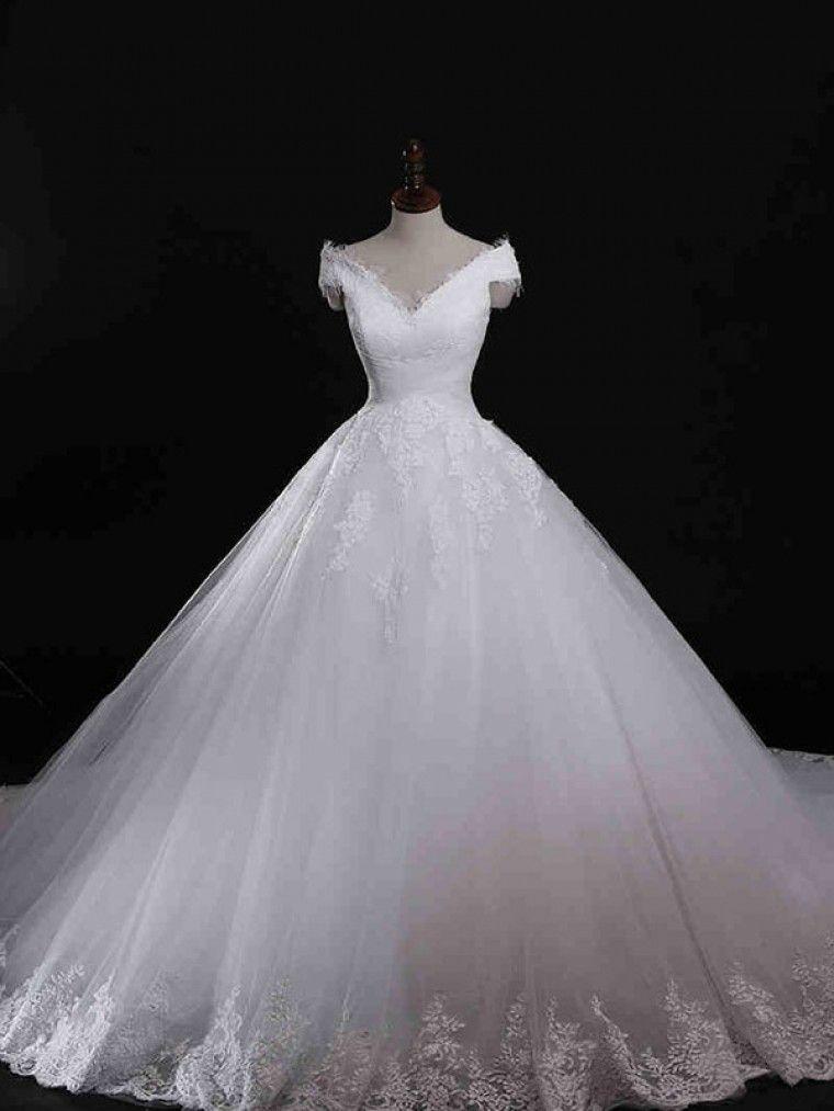 6085e06e8d3bb Dathybridal  ウェディングドレス ボールガウン  Vネック オーガンジー ノースリーブ レースアップ アップリケ アイボリー チャペル  結婚式 二次会ドレス Hlb0028