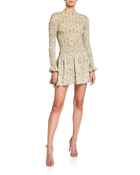 SIR The Label Sachi Long-Sleeve Ruched Mini Dress (With