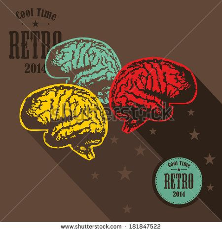Digital brains on the screen. Vector illustration in vintage style. - stock vector