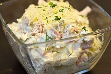 Салат с курицей, ветчиной и сметаной | Рецепт | Еда ...