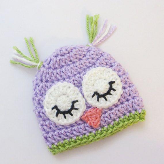 PREEMIE Girl Sleeping Owl Hat Crochet Beanie purple and green NICU ...