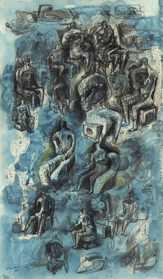 magictransistor:  Henry Moore. Seated Figures: Studies for Sculpture. 1940.