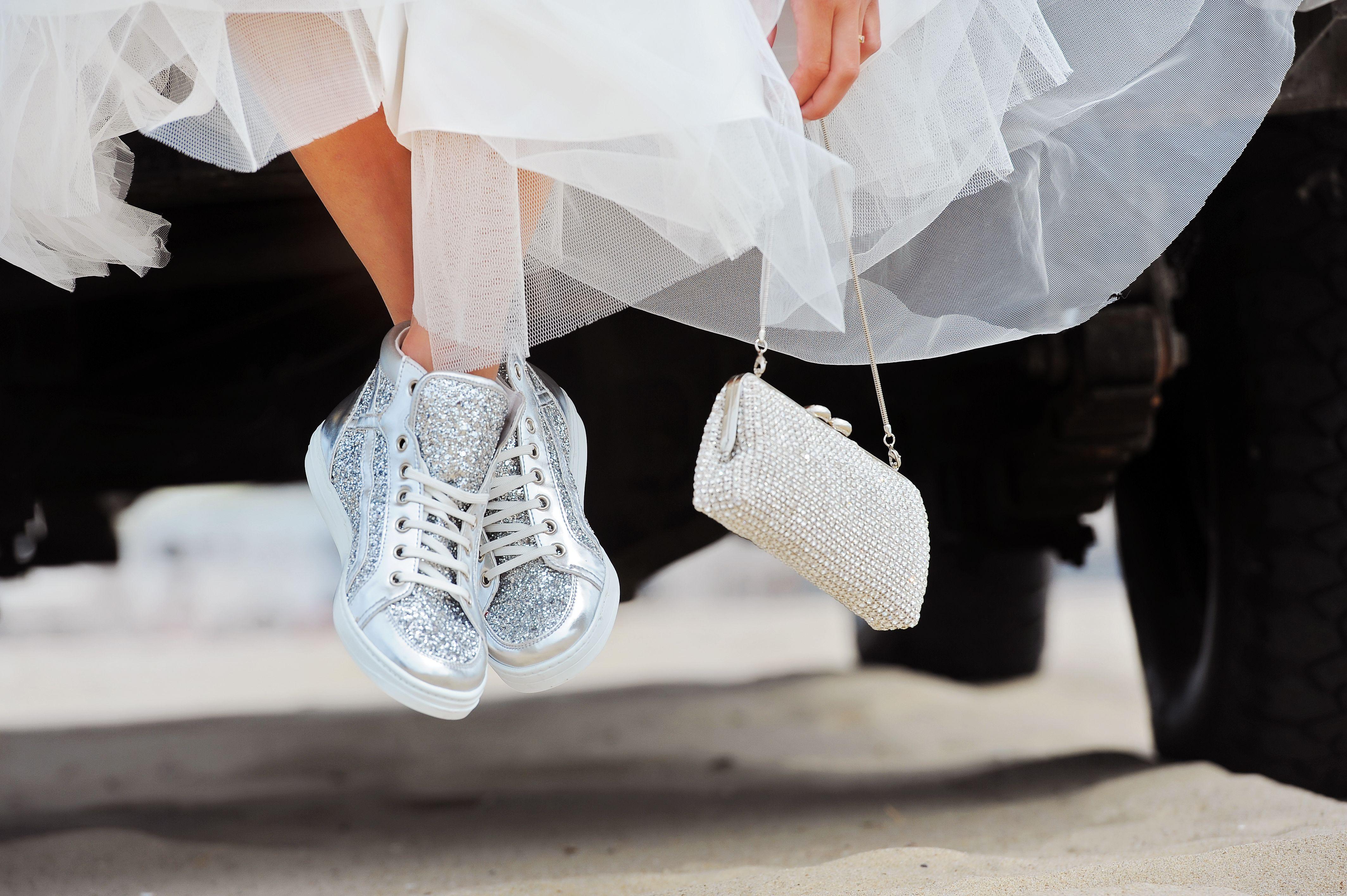 Brautschuhe glitter silber