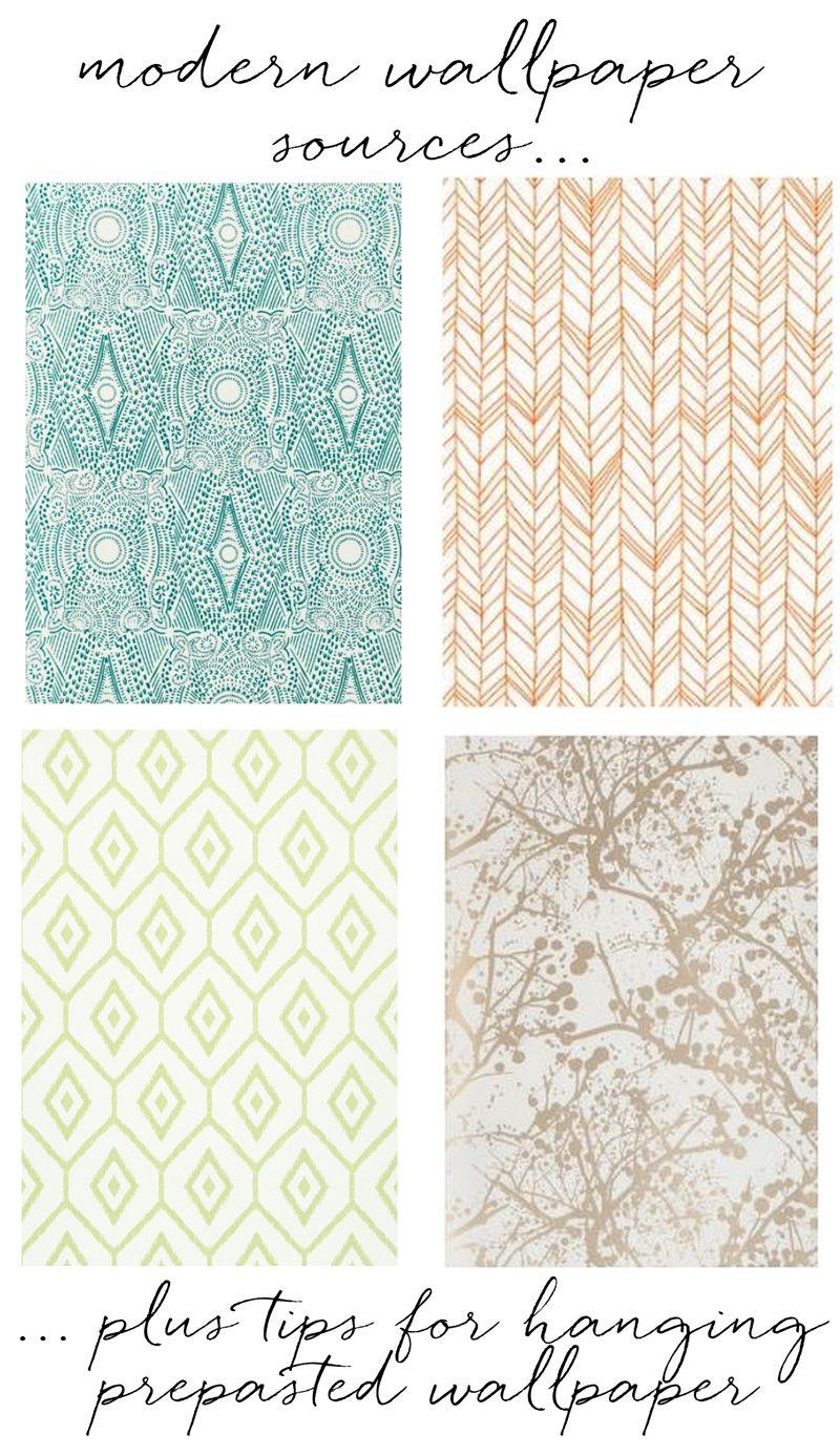 modern wallpaper sources + tips for hanging prepasted wallpaper