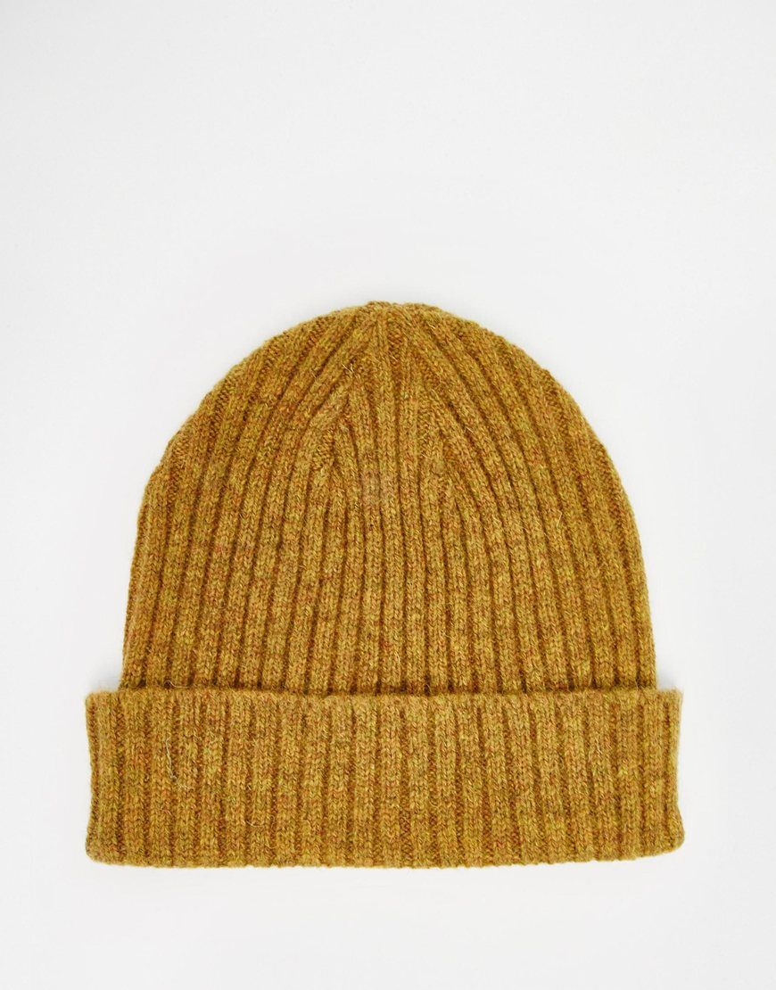 5dd8615c081 ASOS Fisherman Beanie in Mustard Lambswool