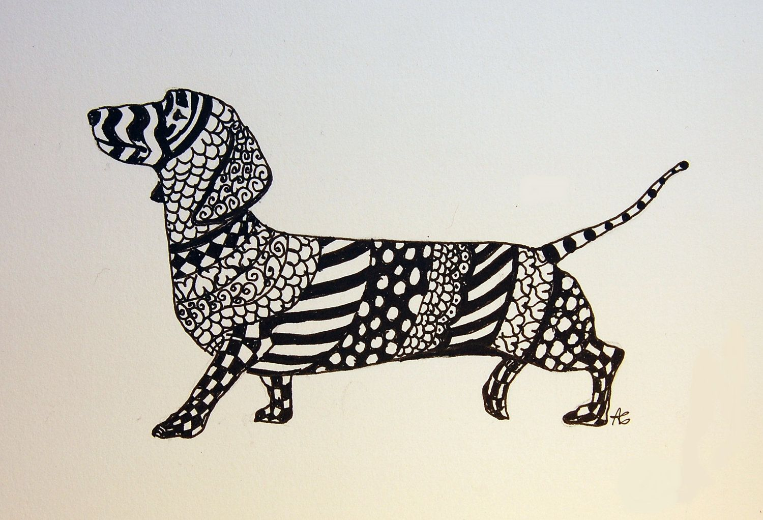 Dachshund Zentangle Original Pen and Ink Drawing with Hearts Free ...