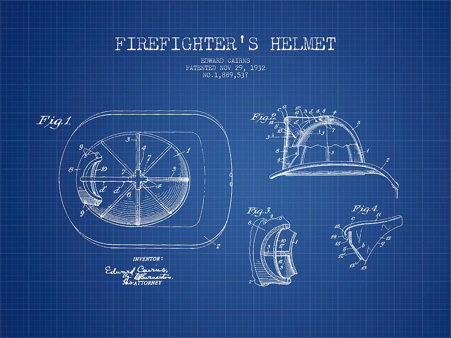Firefighter helmet patent drawing from 1932 blueprint digital art firefighter helmet patent drawing from 1932 blueprint digital art malvernweather Images