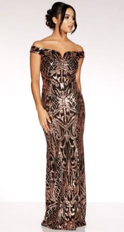 fa2a00d95536 Black Rose Gold Bardot Dress in 2019 | New Designer Dresses ...
