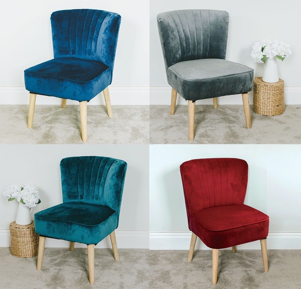 Velvet Oyster Occasional Chair Fluted Retro Bedroom Living Room