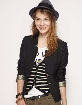 Enlarge Maison Scotch Wool Mix Two In One Blazer And Stripe Cardigan #EasyPin