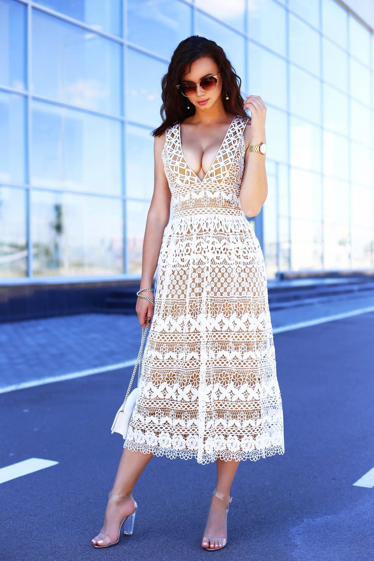 c90ad3dd168b Corded lace dress outfit wearing Boohoo V-neck crochet lace midi dress,  Boohoo strappy