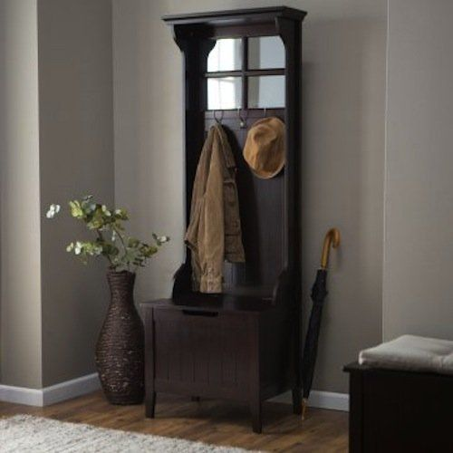 Espresso Entryway Mini Hall Tree With Mirror Coat Hooks And Storage Bench