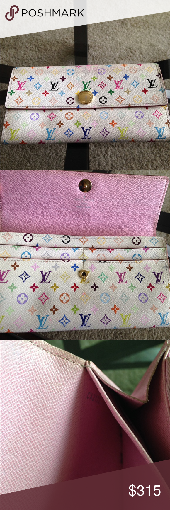Louis Vuitton Long Wallet Authentic Louis Vuitton Long Wallet White Monogram Multicolor. No Trades No Bundles 10 credit card slots. Yes it can hold a checkbook. Code CA2122. Depth- 0.98 Height-3.93, Width 7.40. No odor, no rips or tear. Zipper works fine.  Silly offers will get you block. This wallet is in great condition no issues. Yes dust bag and box Louis Vuitton Bags Wallets