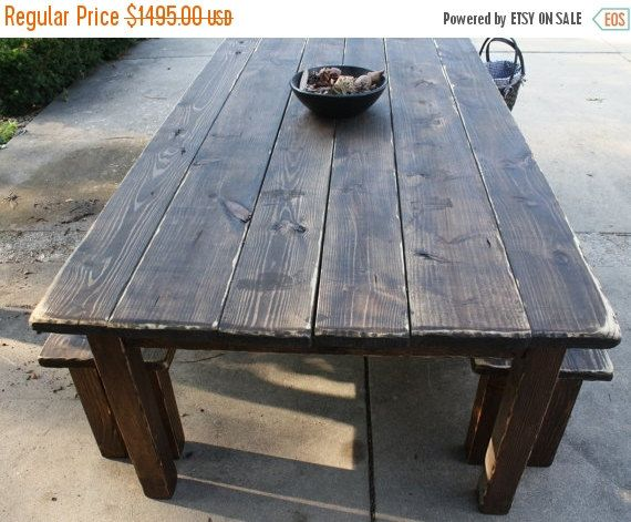 12 Ft Farmhouse Table Set Farm House Kitchen Dining Dark Walnut Distressed Primitive Country Cabin W Two Matching Benches Custom Sizes Color Farmhouse Table Setting Farmhouse Table Kitchen Table