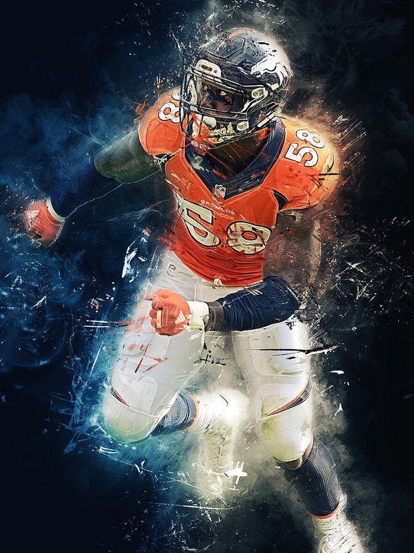 Von Miller Print By Afterdarkness Von Miller Sports Art Denver Broncos Art