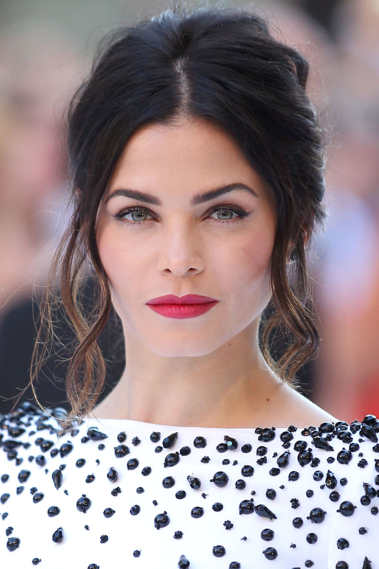"""Who: Jenna Dewan-Tatum What: French Volume How-To: Hairstylist Dayaruci gave the actress a """"French-mod updo"""" to show off the embellished neckline on her Zuhair Murad jumpsuit. To give her hair toned-down Bardot volume, he used thickening mousse on wet strands, then curled random sections and teased the roots with texture spray. Leaving loose tendrils out at the front and keeping the twist in the back very low kept things """"sexy and not too polished."""""""