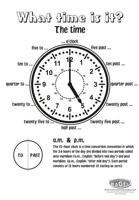 The Time Clock Cool Coloring Pages Telling Time Activities Time Worksheets Teaching Time