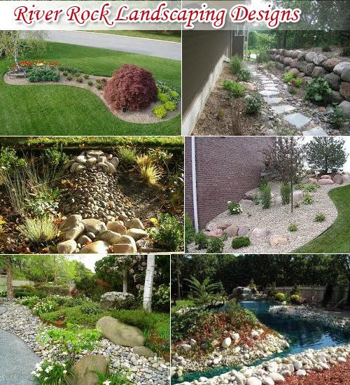 River Rock Design Ideas use rocks to create interesting effects such as the dry pond in the photo at River Rock Landscaping Ideas Have Always Been One Of The Majorly Used Factors In Improving The