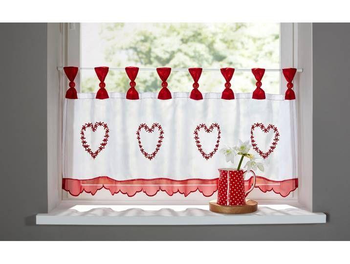 Home Affaire Scheibengardine Herz Rot Transparenter Stoff Gardinen Gardinen Kaufen