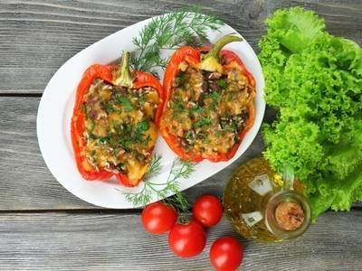 Photo of Cheesy Ground Beef and Rice Stuffed Peppers-Cheesy Ground Be…